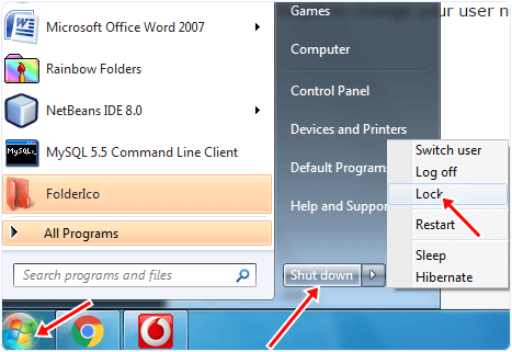 Start Menu Log off Option