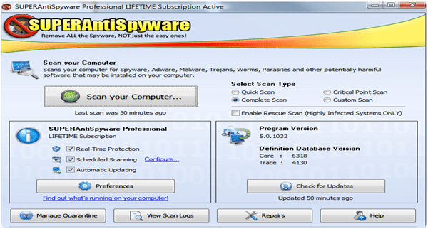 SuperAntiSpyware PC Software