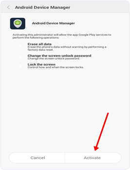 Android Device Manager Activate option
