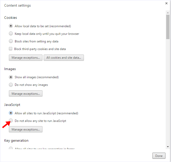 Chrome Javascript Disable