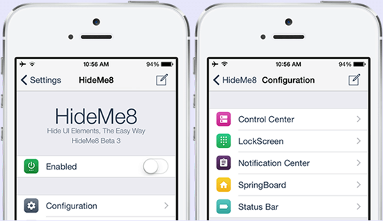 HideMe8 App UI