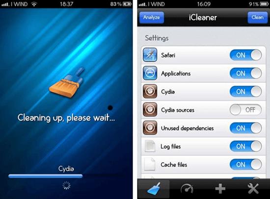 iCleaner Cydia App UI