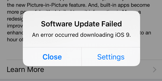 iOs Update failed