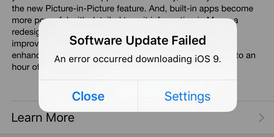 iOs Update failed