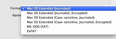 mac usb format types