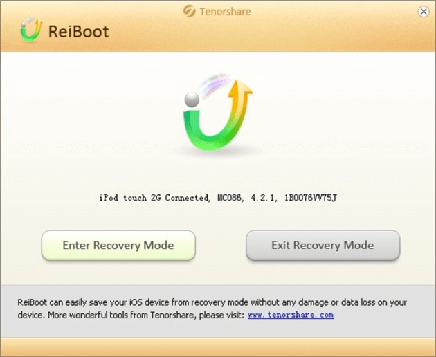 Tenorshare Reiboot software UI