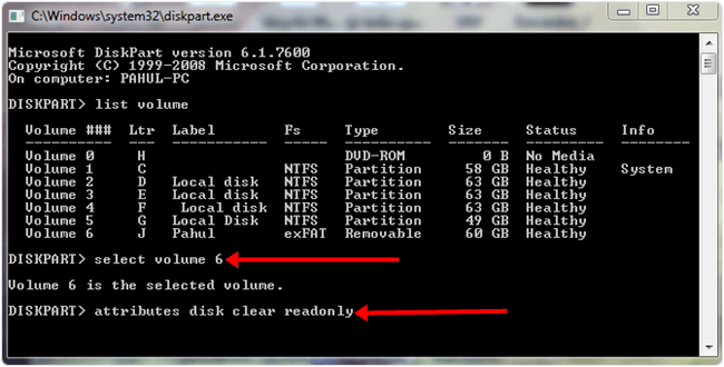 Windows system diskpart disk clear