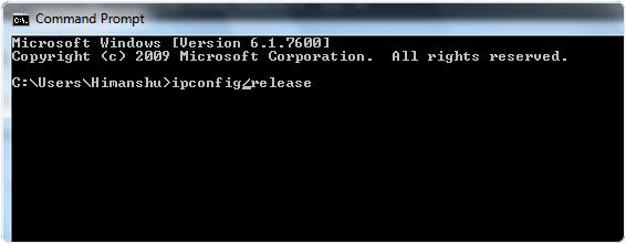 Ipconfig Release Command