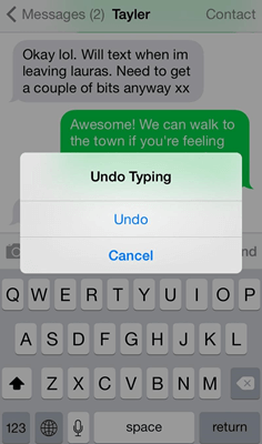 undo deleted text iphone