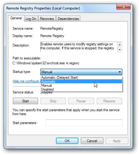 services remote registry properties