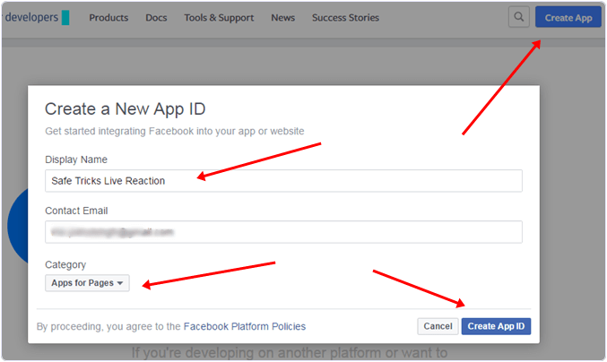 create new app id facebook