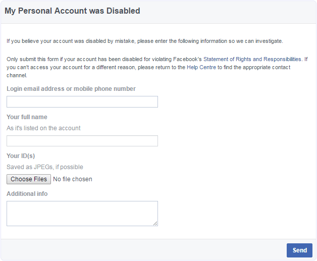 facebook account disabled appeal form