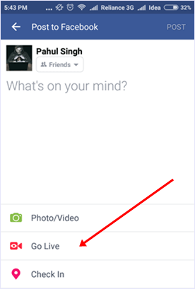 facebook go live profile option