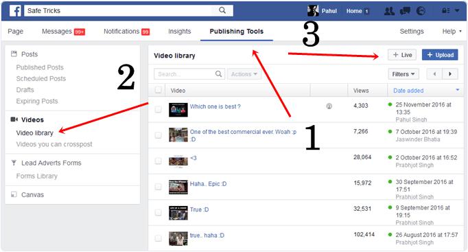 facebook live video web option