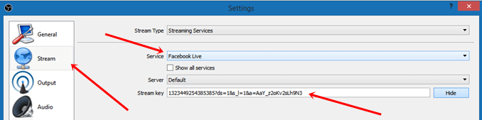 obs stream facebook live settings