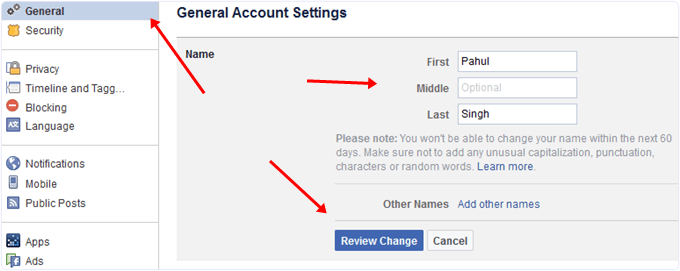 Change name on facebook profilehh