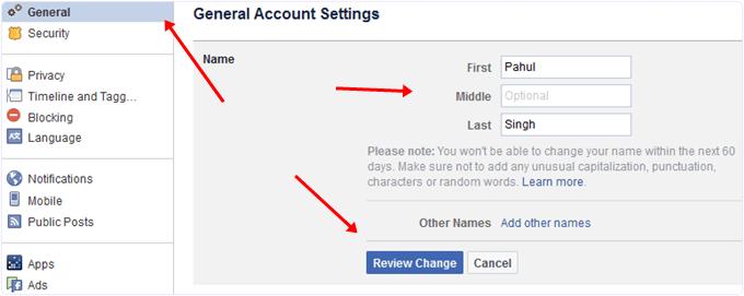 Change name on facebook profile