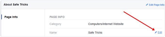 Edit Facebook page name option