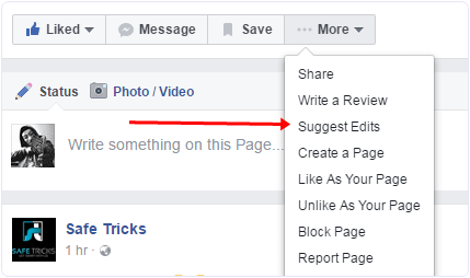 Facebook page suggest edits option