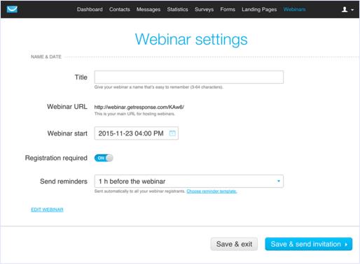 getresponse webinar settings