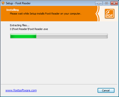 foxit installation progress bar