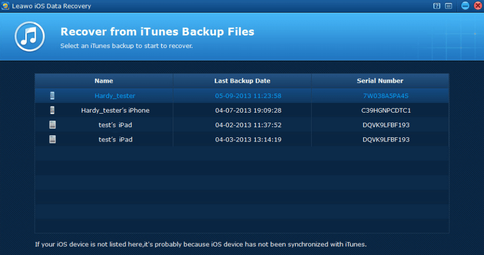 leawo recovery itunes backup