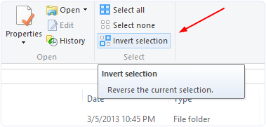 Windows invert selection