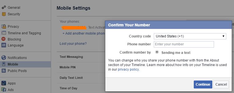 add mobile number facebook