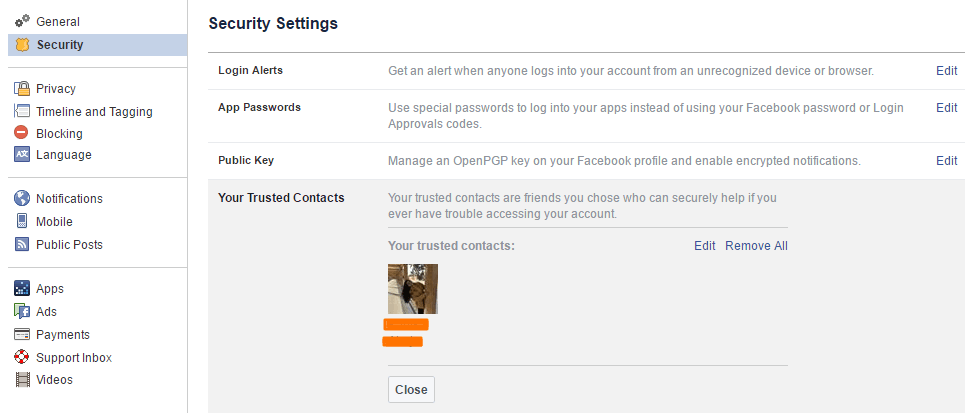 add trusted contacts facebook