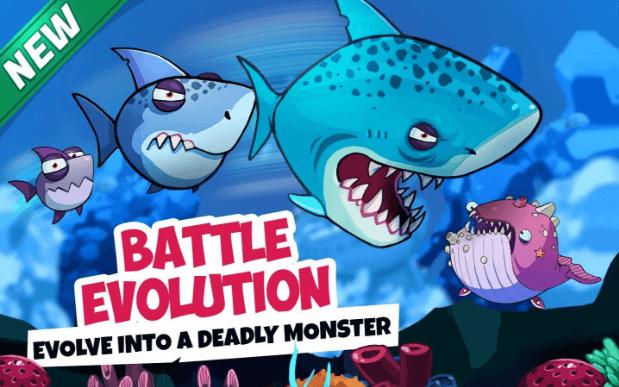 Latest multiplayer adventure fish war io game for Fish evolution game