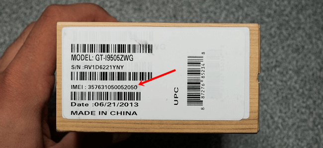imei number on box