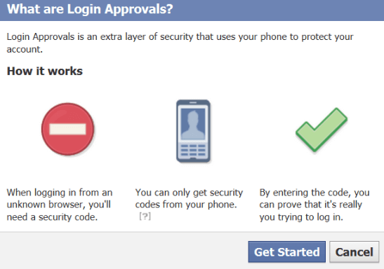 log in approvals facebook