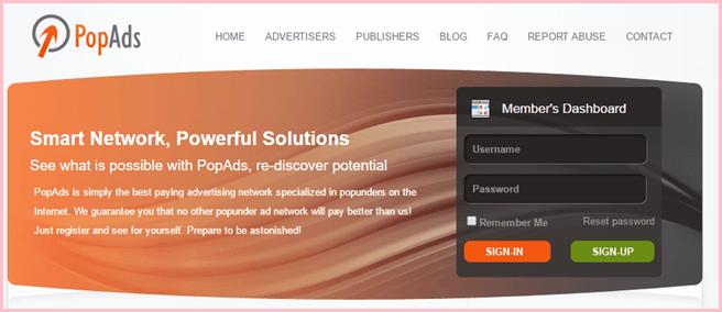 pop ads popunder network