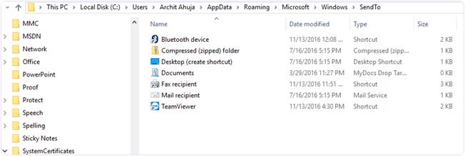 windows edit send menu