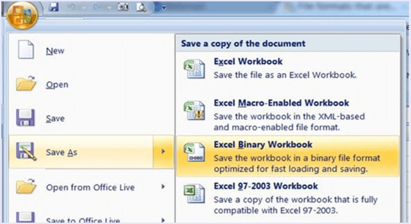 save excel as binary to reduce size