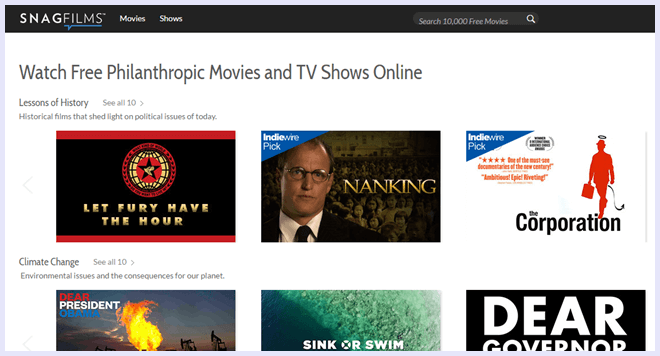 snagfilms movie streaming site