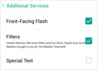 front flash snapchat