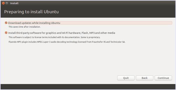 preparation for installation of ubuntu