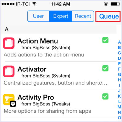 queue option cudia installed tweaks