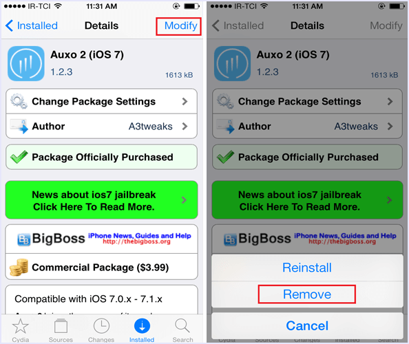 remove cydia tweak