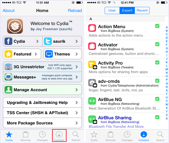 remove installed cydia apps tweaks tab