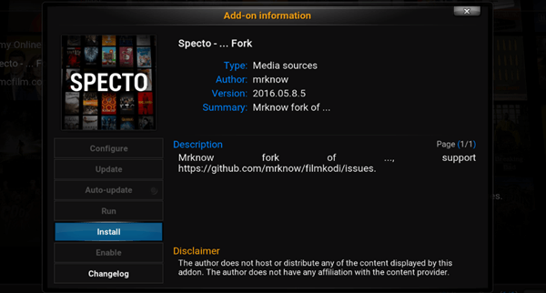 specto fork add on kodi