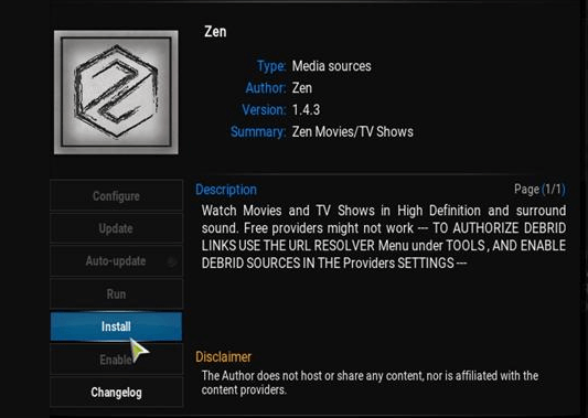 zen kodi add on