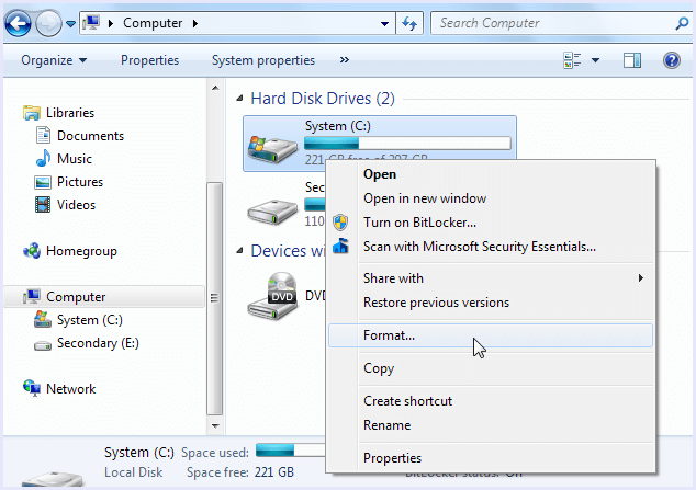Format new partition