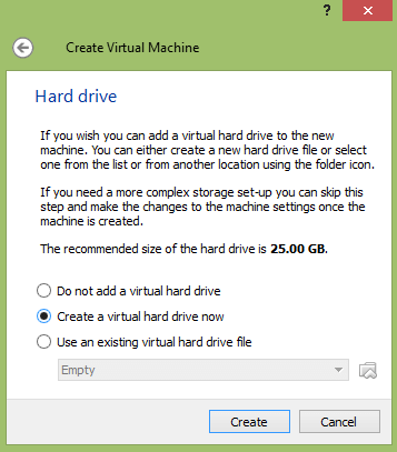 create virtual hard drive for vm