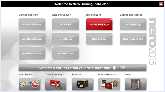 nero rom burning