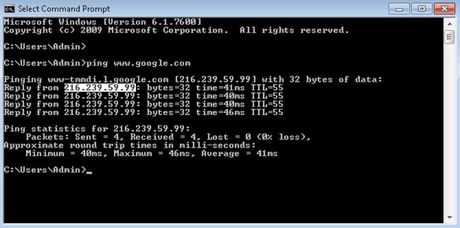 ping google ip address