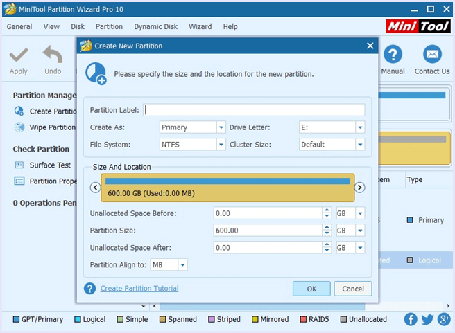 set parameters for new partition minitool partition wizard