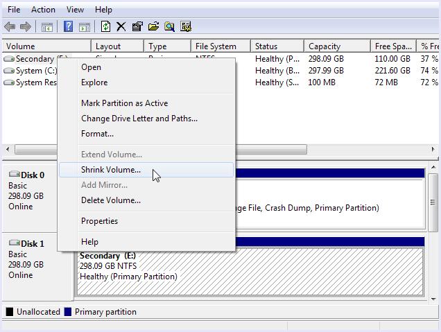 shrink volume disk manager