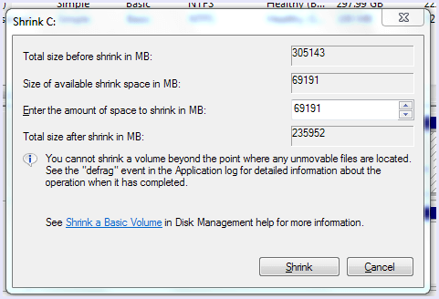 shrink volume parameters